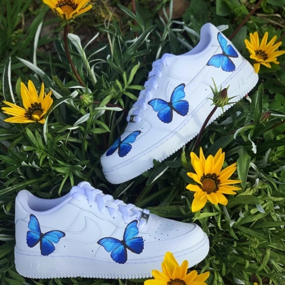 air force ones with blue butterflies